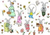 Rabbit family — Stock Vector