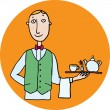 Stock Vector: Waiter