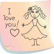 """Post-it with words """"I love you!"""" — Stock Vector #19625981"""