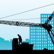 Silhouette of the building crane against a city — Stock Vector