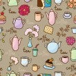 Background with teapots, coffepots, cups and sweets — Stock Vector
