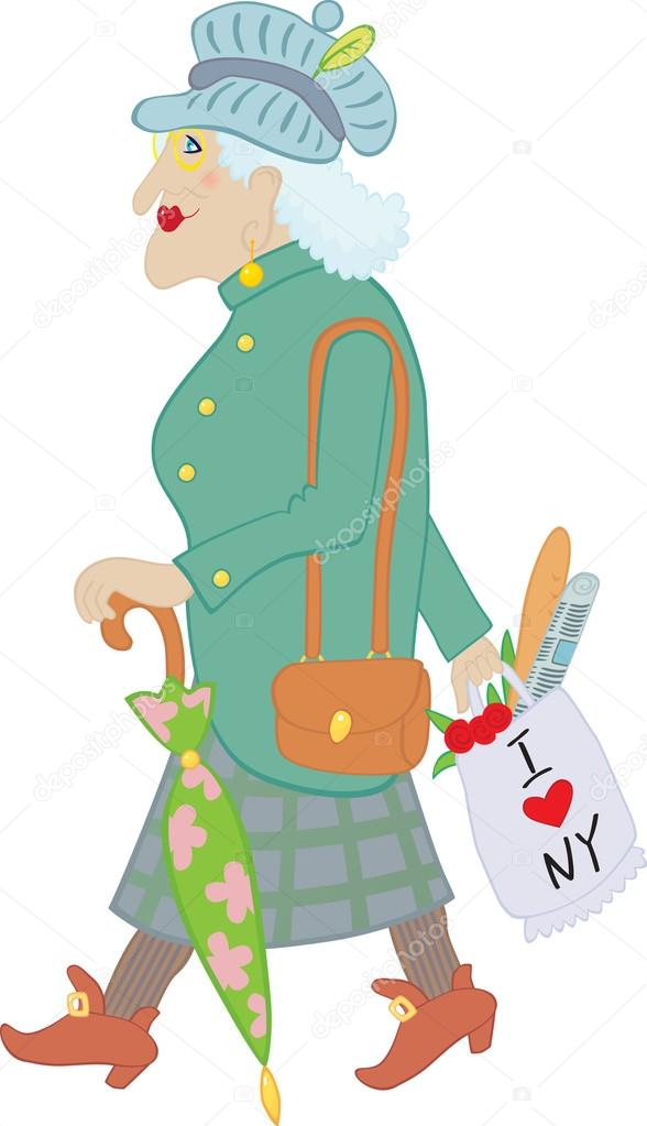 Old lady with umbrella and bag  with baguette, newspaper and flowers  Stock Vector #19625879