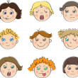Nine children's faces with different moods — Stock Vector