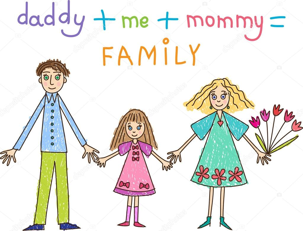 Kids Drawing Family Mother Father And Daughter Stock Vector
