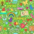 Spring and summer seamless pattern - Vettoriali Stock