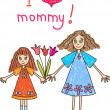 Stockvector : Kids Drawing. The Mother's Day