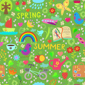 Spring and summer seamless pattern — Stock Vector
