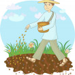 The farmer sows grain — Stock Vector