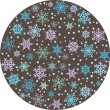 Round backround with snowflakes — Stockvectorbeeld