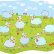 Flock of sheep — Stock Vector