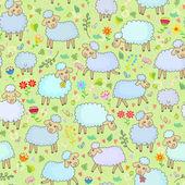 Naadloze patroon met schapen — Stockvector