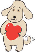 Dog holds in paws gift-heart — Stock Vector