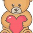 Stock Vector: Teddy bear with heart