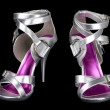 Silver strappy stiletto heels — Stock Photo