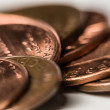 Stock Photo: Macro shot of copper pennies.