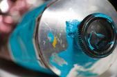Macro shot of blue paint tube — Stock Photo