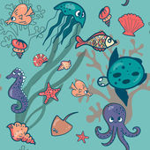Sea friends pattern — Stock Vector