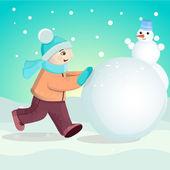 Ragazzo scolpisce il pupazzo di neve. — Vettoriale Stock