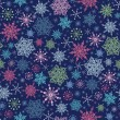 Holiday Snowflakes At Night Seamless Background — Stock Vector
