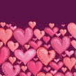 Royalty-Free Stock Vectorielle: Valentine&#039;s Day Hearts Horizontal Seamless Pattern Border