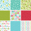 Colorful Winter Holidays Collection Of Nine Seamless Patterns — Stock Vector