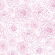 Drawn Pink Flowers Seamless Pattern Background — Stock Vector