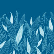 Blue Bamboo Leaves Horizontal Seamless Pattern Border - Stok Vektr