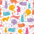 Stock Vector: Colorful Cats Seamless Pattern Background