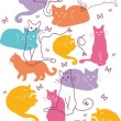 Colorful Cats Vertical Seamless Pattern Border — Stock Vector #14882727