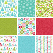 Colorful Winter Holidays Collection Of Nine Seamless Patterns — Stok Vektör