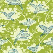 Hummingbird Garden Seamless Pattern Background — Stock Vector