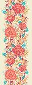 Bright Garden Flowers Vertical Seamless Pattern Border — Stock Vector