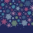 Snowflakes On Night Sky Horizontal Seamless Pattern Border - Stock Vector