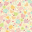 Doodle Hearts Seamless Pattern Background — Stock Vector