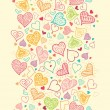 Doodle Hearts Vertical Seamless Pattern Background Border — Stock Vector