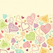 Doodle Hearts Horizontal Seamless Pattern Background Border — ストックベクタ