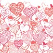 Valentine's Day Hearts Horizontal Seamless Pattern Border — Stock Vector