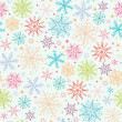 Stock Vector: Colorful Doodle Snowflakes Seamless Pattern Background