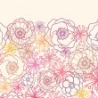 Royalty-Free Stock Vector Image: Subtle field flowers horizontal seamless pattern border
