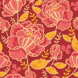 Gold and red flowers seamless pattern background — Stock Vector #15498183