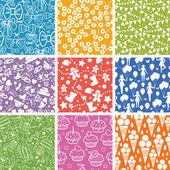 9 つのお祝いのシームレスなパターン背景コレクション — ストックベクタ
