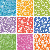 Nine Celebration Seamless Patterns Backgrounds Collection — Stok Vektör