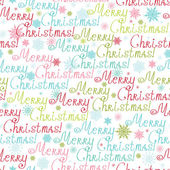 Merry Christmas Text Seamless Pattern Background — Stock Vector