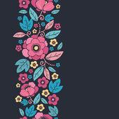 Frontera de patrones sin fisuras verticales la noche kimono flor — Vector de stock