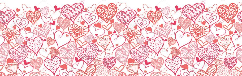Day Hearts Horizontal Seamless Pattern Border - Stock IllustrationHeart Border Horizontal