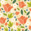 Stock Vector: Colorful spring tulips seamless pattern background