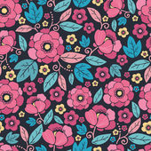 Night Kimono Blossom Seamless Pattern Background — Stok Vektör