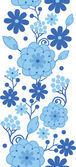 Delft blue Holland flowers vertical seamless pattern border — Stock Vector