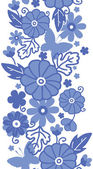 Delft blue Dutch flowers vertical seamless pattern border — Stock Vector