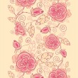 Line art roses vertical seamless pattern background border — Stock vektor